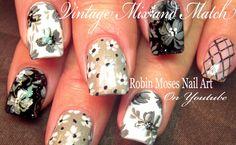 Vintage Nail Art in Black, White and Gray: #nails #nail #art #blackandwhite #gold #gray #grey #nailart #vintage #trendy #spring2016 #trends #whitenails #blacknails #greynails #graynails #greige @polishedperfect #moonlitwalk