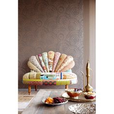 314042 Light Brown Lacey Suzani - Eijffinger Wallpaper