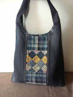 Купить Джинсовая сумка-торба с лоскутной хлопковой вставкой - синий, в клеточку, джинс, хлопок