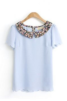 Sweet Blue Floral Peter Pan Collar Chiffon Blouse