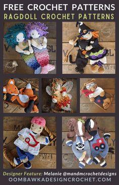 8 Adorable Ragdoll Crochet Patterns - Free Pattern Friday PLUS 2 for sale patterns - Rainbow Unicorn Ragdoll Crochet Pattern and Giant Panda Bear Ragdoll Pattern Crochet Doll Pattern, Crochet Patterns Amigurumi, Crochet Dolls, Learn To Crochet, Crochet For Kids, Free Crochet, Cute Mermaid, Dk Weight Yarn, Crochet Round