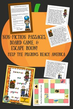Just in time for Thanksgiving -barely :)   Non-fiction passages, board game, and an escape room! Answers included. Fun and engaging way to practice reading skills and critical thinking skills.  Can you help the Pilgrims reach America?