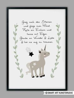 "Original print - ""UNICORN"" art print, gift - a designer piece of . , Original print - ""UNICORN"" art print, gift - a unique product by Smart-Art-Art Prints on DaWanda. K Om, Baby Zimmer, Smart Art, Unicorn Art, Baby Album, True Words, Kids And Parenting, Diy Art, Hand Lettering"