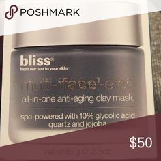 Bliss multi 'face' eted all in one mask NWT. Brand new. Never opened or used. Offers welcome. Bundle and save. Happy shopping Poshers!! Bliss Makeup