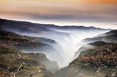 Lebanon, the Qadicha Gorge, as seen from the Cedars above. Town on right is Bcharri.