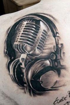 Left Back Shoulder Grey Ink Music Tattoo