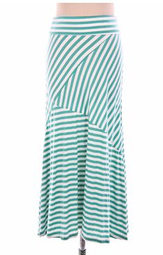 Chevronesque Mint Green Striped Skirt  -Fits true to size  -Slightly flared fit at bottom  -48% poly, 48% rayon, 4% spandex  -Elastic waistband  -Inverted stripes  -Made in USA