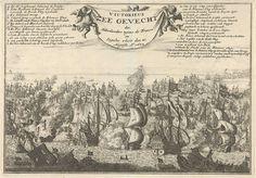 Jan Luyken   Zeeslag bij Kijkduin, 1673, Jan Luyken, Jan Claesz ten Hoorn, 1688   Zeeslag bij Kijkduin, 21 augustus 1673. Zeeslag tussen de Hollandse vloot onder De Ruyter en Tromp en de gecombineerde Engels-Franse vloot onder prins Rupert. In de lucht houden drie putti een vellum vast. Links en rechts hiervan verklaring van de in de zeeslag geplaatste letters.