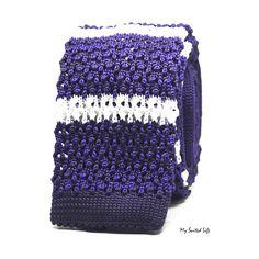 Knit Purple Stripe Tie