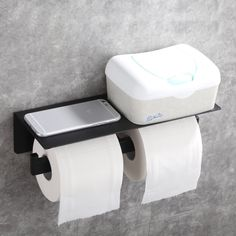 AngleSimple Double Roll Stainless Steel Wall Mount Toilet Paper Holder with Phone Shelf & Reviews | Wayfair Storage Rack, Storage Shelves, Rack Shelf, Toilet Paper Roll Holder, Toilet Paper Storage, Unique Toilet Paper Holder, Bathroom Toilet Paper Holders, Wall Mounted Toilet, Toilet Wall