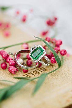Emerald Green Engagement Ring | Awake  Photography | Designer Wedding and Holiday Style from Rent the Runway!