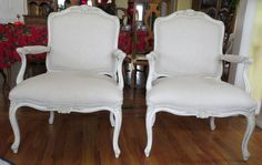 Cream Linen French Style Chairs  Totally by WydevenDesigns on Etsy