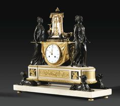 Pendulum to Vestal carrying the sacred fire patinated bronze, gilt bronze Louis XVI white marble attributed to Pierre-Philippe Thomire (1751-1843), 1788   Lot   Sotheby's