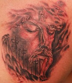 3d tattoo of Jesus profile mixed with an image of HIm on the cross.