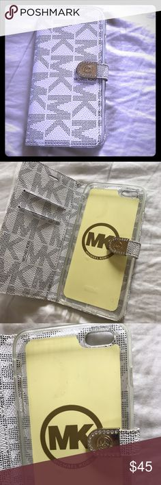 Michael Kors iPhone case wallet Fits iPhone 6&6S PLUS. Some flaws shown in photos great case!! Michael Kors Accessories Phone Cases