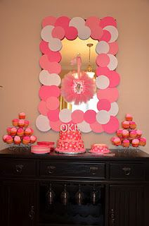 really cute pink polka dot party...such a cute CHEAP way to spruce up decor already in your home to match party theme!