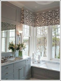 """A valance in this style (I think it's a simple box or kick pleat) would work well in your dining room over the front window. You could do the same for the other two windows, or to """"bookended"""" single panels on those. (see examples for the living room on the board)"""