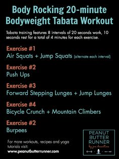 Peanut Butter Runner Body Rocking Tabata Workout - 20 minutes doesn't seem like a long time, but the first time I did this I definitely felt it! Hitt Workout, Tabata Workouts, Tabata Fitness, Tabata Training, Body Rock, Gateaux Cake, Plyometrics, Calisthenics, Muscle Building Workouts