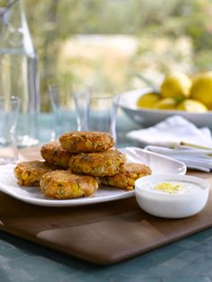 Salmon Cakes with Lemon-Caper Yogurt Sauce Recipe-- replace saltines with THM-approved bread substitute - THM S
