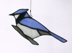 Bluejay Stained Glass Suncatcher by BerlinGlass on Etsy