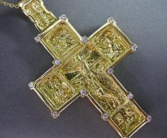 ESTATE-EXTRA-LARGE-DIAMOND-18K-YELLOW-GOLD-SOLID-HANDCRAFTED-CROSS-PENDANT-19234