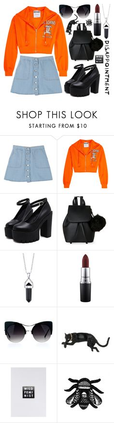 """""""Disappointment"""" by xnightelsax ❤ liked on Polyvore featuring Moschino, IMoshion, Bridge Jewelry, MAC Cosmetics, Alexis Bittar, Wildfang and Forest of Chintz"""