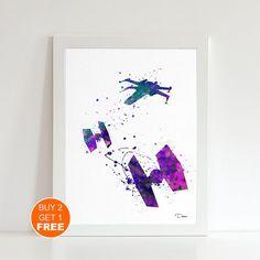 Tie fighter watercolor print 3 Star wars watercolor by VividCity