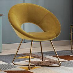 Mercer41 Focht 20'' Wide Velvet Armchair & Reviews | Wayfair Velvet Armchair, Chair Backs, Toss Pillows, Living Room Chairs, Classic Style, Accent Chairs, Modern Design, Upholstery, Colour Yellow