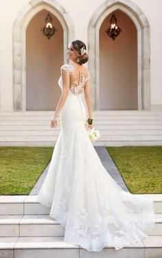 6269 Tulle Over Organza Fit and Flare Wedding Dress by Stella York