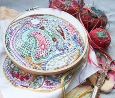Paisley DIY Embroidery Sampler by DropclothSamplers on Etsy https://www.etsy.com/listing/101885855/paisley-diy-embroidery-sampler