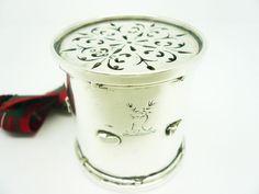 Silver Pepper Pot, Sterling, DRUM, Antique, English, Hallmarked 1861, George Fox