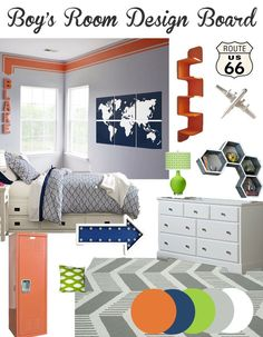 Boy's Bedroom Decor Ideas and Design - Boy's Color Scheme of Neutrals with Orange, Lime Green, and Navy