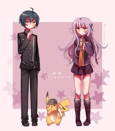 Danganronpa Funny, Danganronpa Characters, Anime Characters, Best Crossover, Anime Crossover, Detective, Mother Son Relationship, Academy Uniforms, Pikachu