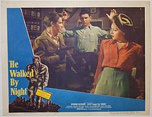 """He Walked by Night (1948) is a black-and-white police procedural film noir, crediting Alfred L. Werker as director. The film, shot in semidocumentary tone, was loosely based on newspaper accounts of the real-life actions of Erwin """"Machine-Gun"""" Walker, a former Glendale California police department employee and World War II veteran who unleashed a crime spree of burglaries, robberies, and shootouts in the Los Angeles area during 1945 and 1946"""