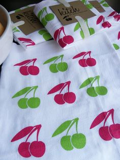 Retro Cherries Flour Sack Tea Towel Screen Printed by KitchTowels, $9.00