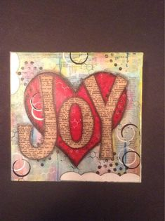 Joy 6x6 Mixed Media Canvas with Heart by fluttersofwhimsy on Etsy, $12.00