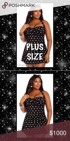 """⭐️⭐️COMING SOON LIKE THIS LISTING 4 NOTIFICATION⭐️ New Plus Size Black & White Polka Dot One Piece Swim Dress Bathing Suit Size: Tag Size 6X (Fits US 20-22)  Color: Black and White Approx Measurements:  Tag 6XL: Bust: 54""""; Waist: 45.2""""; 55"""" Price firm Glam Squad 2 You Swim One Pieces"""
