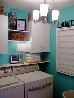 laundry room; DIY (or buy) Ballard style drying rack on wall to right.