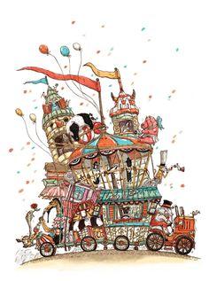 happy circus by smile D, via Behance Ink Illustrations, Children's Book Illustration, Art Du Cirque, Prop Design, Art Journal Inspiration, Whimsical Art, Print Pictures, Cool Art, Street Art