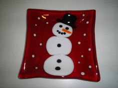 Square snowman fused glass serving dish. by GlassdesignsbyChris, $22.00