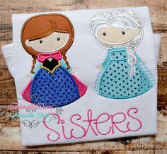 Elsa and Anna Embroidered Shirt - Elsa shirt - Anna Shirt -  Frozen girls shirt - Girls Queen Elsa and Princess AnnaShirt on Etsy, $28.00