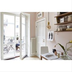 pale pink kitchen, pink wall colour, string shelves in kitchen, fantastic frank, scandinavian interior styling Stockholm, Gravity Home, Scandinavian Interior Design, Love Your Home, Pink Walls, Apartments For Sale, Apartment Living, Interior Inspiration, Interior And Exterior