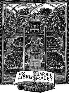 ≡ Bookplate Estate ≡ vintage ex libris labels︱artful book plates - k. shimamura - Barrie Macey