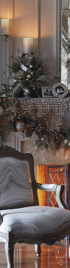 Arrangement inside the candle stick - Frontgate Mixed Metals Pre-Decorated Greenery Collection Christmas Fireplace, Christmas Mantels, Christmas Home, Christmas Holidays, Christmas Wreaths, Christmas Crafts, White Christmas, Christmas Villages, Victorian Christmas
