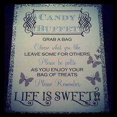 Custom Candy Buffet Signs by BellaMEvents on Etsy, $15.00  we can make a sign like this bilingual!