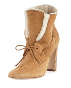 Ostrava Shearling 105mm Ankle Boot, Camel by Manolo Blahnik at Neiman Marcus.