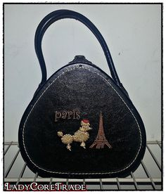 Vintage PARIS Eiffel Tower POODLE Dog Black by LadyCoreTrade, $45.00