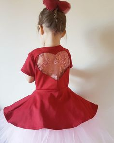 Image of The 'Valentina' dress in deep red. Lace embroidered sequined heart cut-out