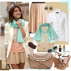 Mint scarf for splash of color with nudes.