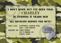 CAMO Birthday INVITATION or Baby Announcement - Printable Invite - Customizable - Military - Boys or Girls. $10.00, via Etsy.